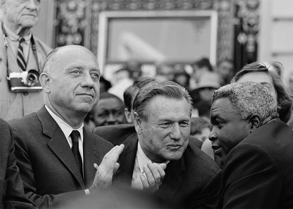 New York Sen. Jacob Javits, New York Gov. Nelson Rockefeller, and baseball great Jackie Robinson at a giant anti-Goldwater parade in 1964.