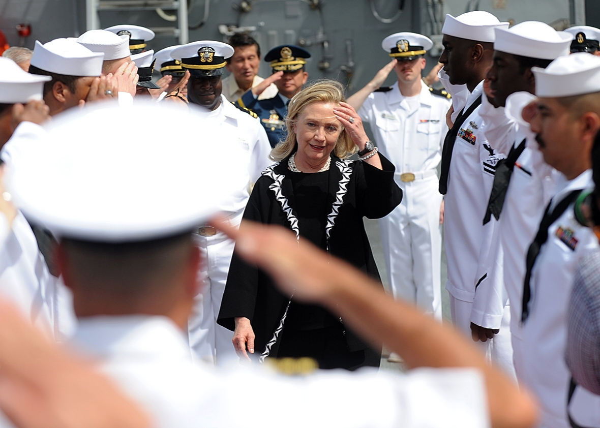 Secretary of State Hillary Clinton aboard the USS Fitzgerald, a U.S. Navy destroyer docked at the Manila bay, on Nov. 16, 2011.