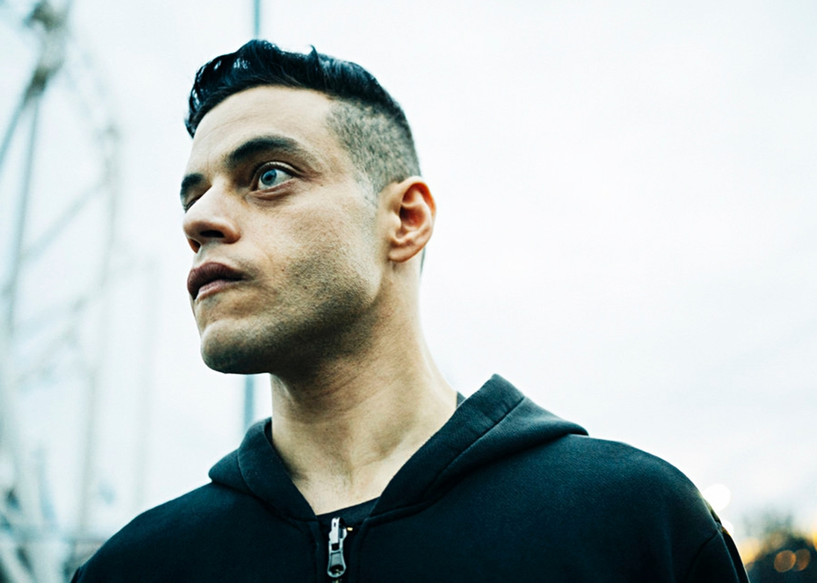 Rami Malek as Elliot Alderson.