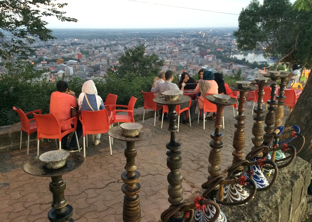 Waterpipes for rent at an outdoor cafe on a mountain overlooking the shomali city of Lahijan, a few hours west of Chalus.