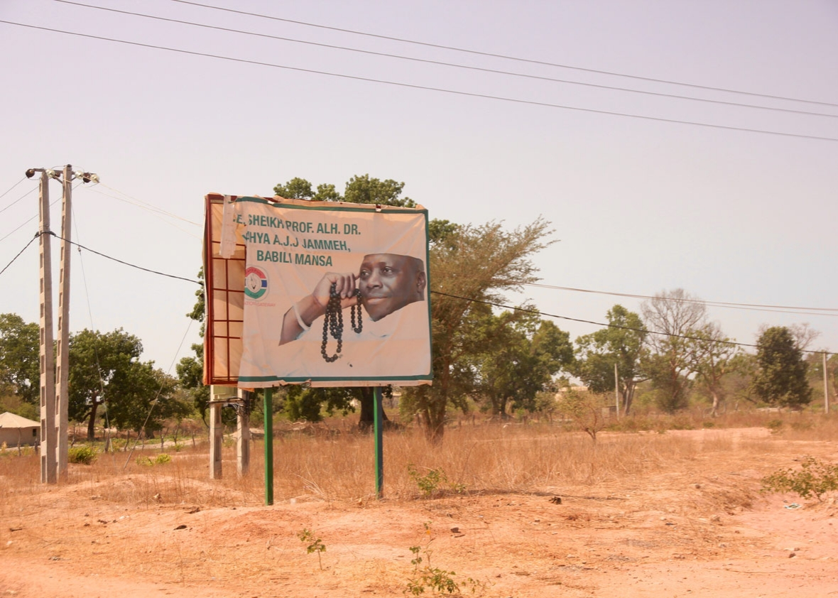 Yahya Jammeh's image still lines the road leading into Kanilai.