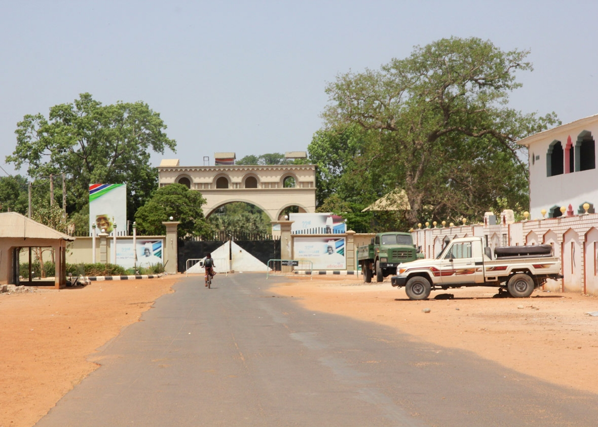 Yahya Jammeh's palace gates at the end of the main road leading into Kanilai