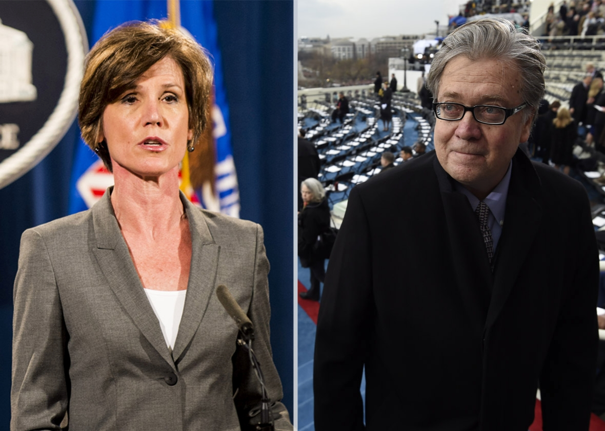 Sally Yates and Steve Bannon.