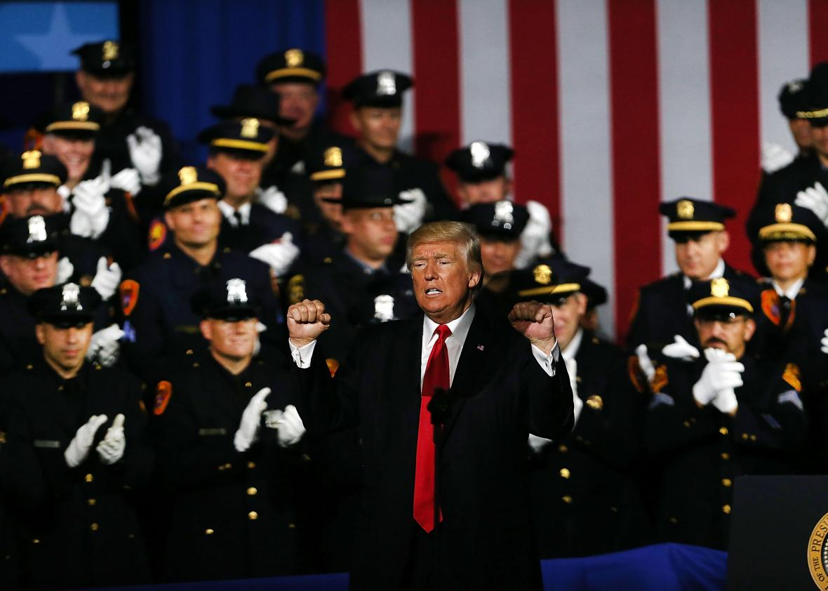 President Donald Trump delivers remarks on law enforcement at Suffolk Community College on Friday in Brentwood, New York.