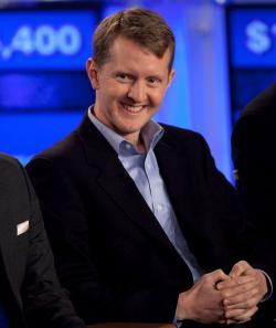 Ken Jennings competes against 'Watson' at a press conference to discuss the Man V. Machine 'Jeopardy.