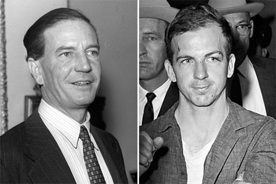 "A November 1955 photo of Kim Philby, left, the ""Third Man"" in the Burgess and MacLean spy case. Lee Harvey Oswald, right, suspected assassin of U.S. President John F. Kennedy, at police headquarters in Dallas, Texas, Nov. 22, 1963."