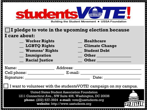 Student voter pledge card.