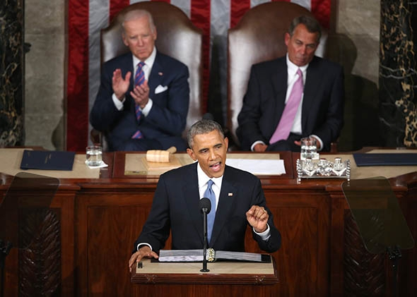 President Obama delivers the State of the Union speech.