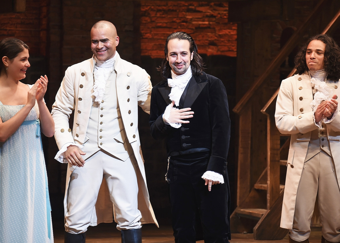 "Phillipa Soo, Christopher Jackson, Lin-Manuel Miranda and Anthony Ramos attend Lin-Manuel Miranda's final performance of ""Hamilton"" on Broadway at Richard Rodgers Theatre on July 9, 2016 in New York City."
