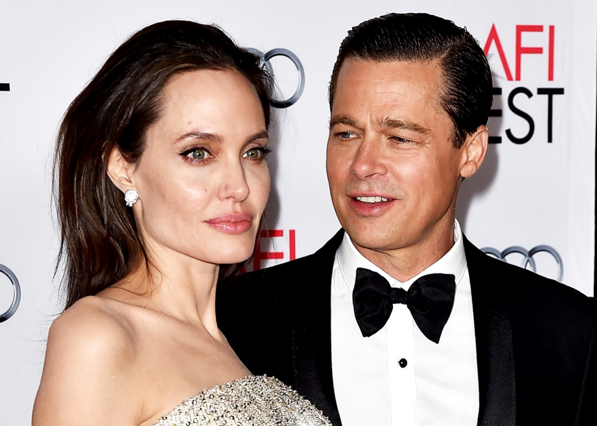"Actress/director Angelina Jolie Pitt and husband actor Brad Pitt arrive at the AFI FEST 2015 presented by Audi opening night gala premiere of Universal Pictures' ""By The Sea"" at the Chinese Theatre on November 5, 2015 in Los Angeles, California."