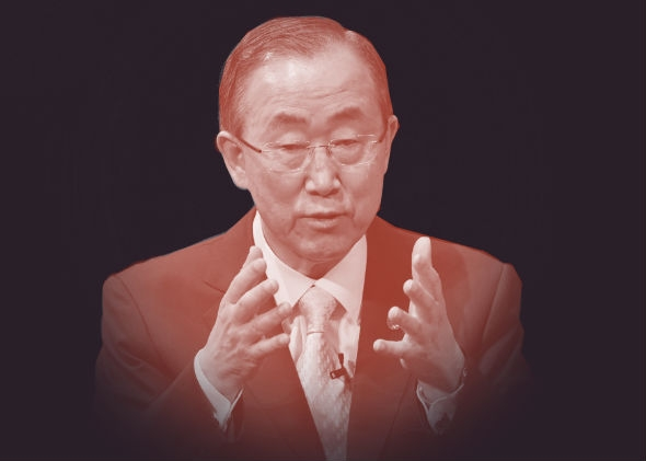 United Nations Secretary-General Ban Ki-moon speaking last week at the Asia Society in New York.