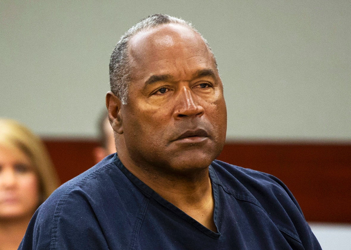O.J. Simpson listens to audio recording played during an evidentiary hearing for O.J. Simpson in Clark County District Court in Clark County District Court May 16, 2013 in Las Vegas, Nevada.