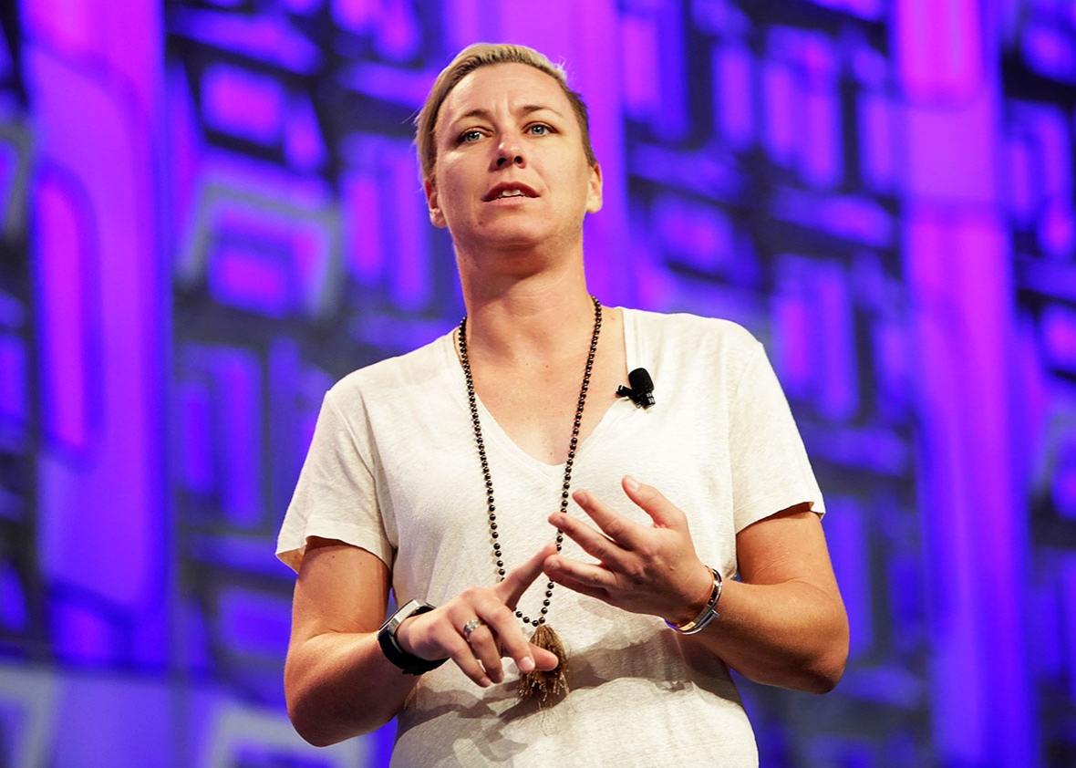 Former US Soccer forward Abby Wambach addresses the audience at the Watermark Conference For Women 2016 Silicon Valley at the San Jose Convention Center on April 21, 2016 in San Jose, California.
