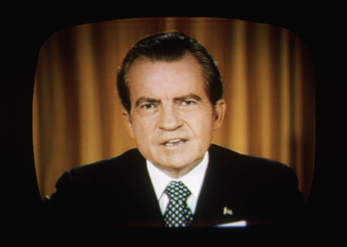 President Richard Nixon addresses the nation on TV about the Watergate.