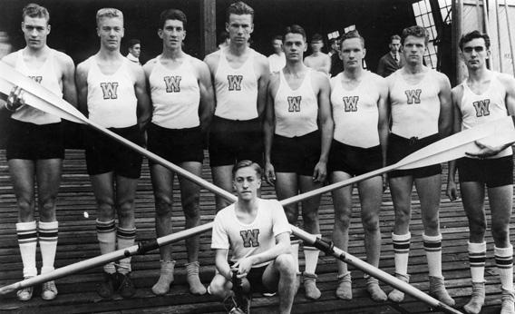 The 1936 U.S. Olympic rowing team from the University of Washington.