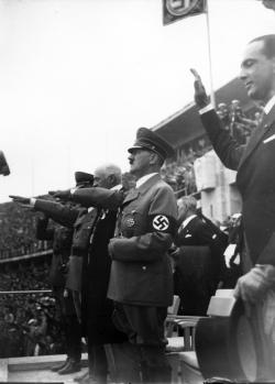 Adolf Hitler opens the Olympic Games, Aug. 1, 1936.
