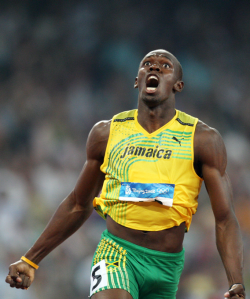 Jamaica's Usain Bolt celebrates winning the men's 200m final during the 2008 Beijing Olympic Games on August 20, 2008.