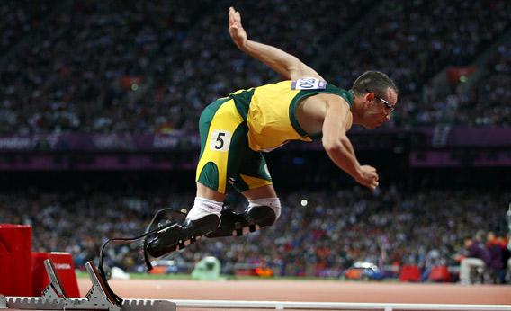 Oscar Pistorius of South Africa starts on the blocks in the Men's 400m Semi Final.