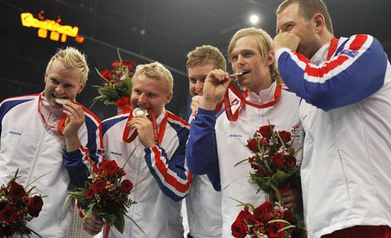 Members of the men's handball team of Iceland after receiving the silver medal of the 2008 Olympic Games on August 24, 2008 in Beijing.