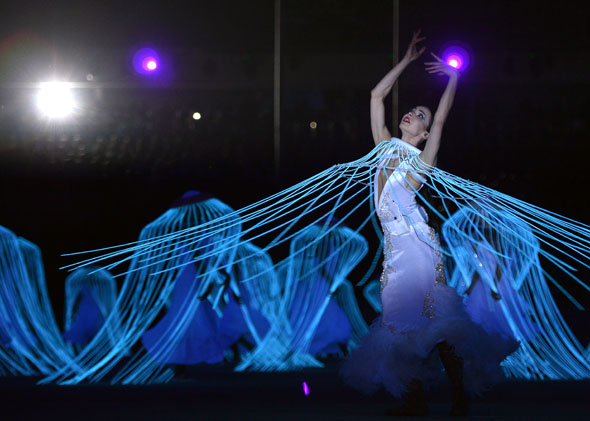 Artists perform during the Opening Ceremony of the Sochi Winter Olympics on February 7, 2014 in Sochi.