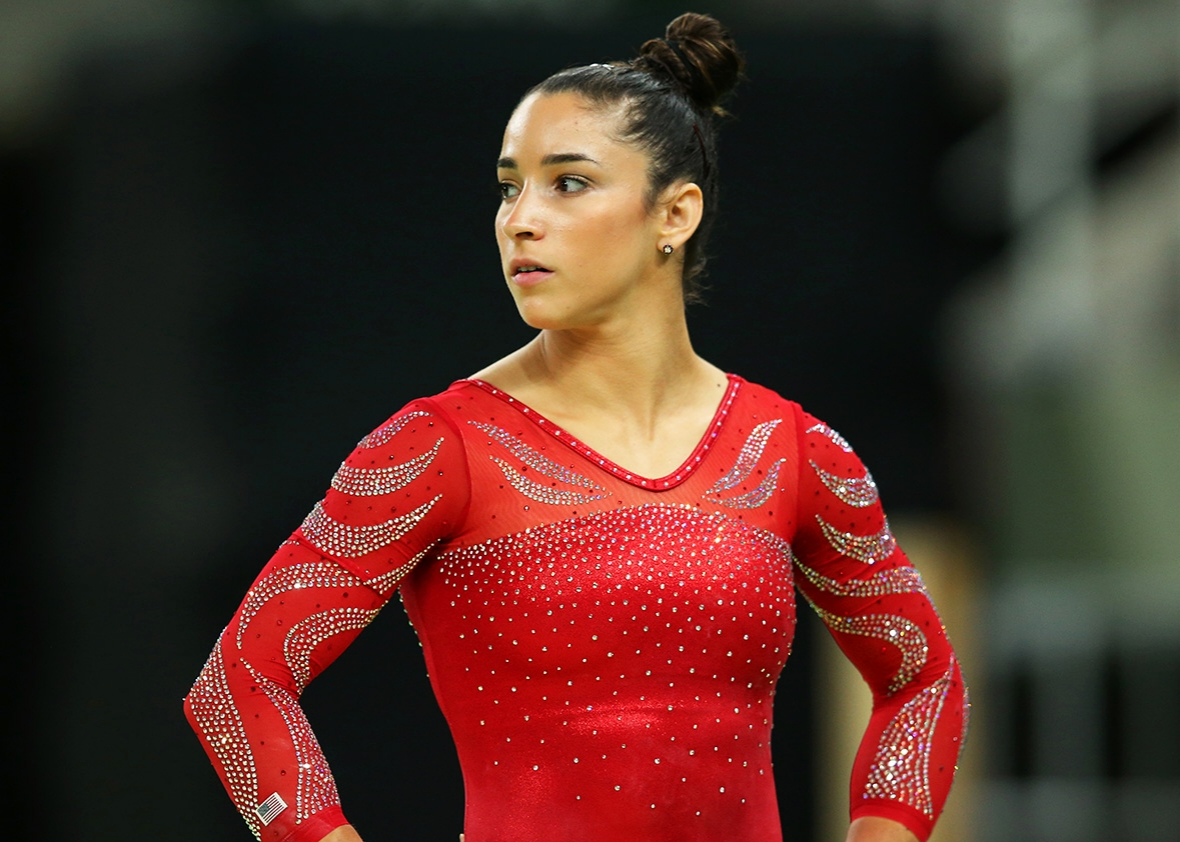 Aly Raisman of the United States looks on during an artistic gymnastics training session on August 4, 2016 at the Arena Olimpica do Rio in Rio de Janeiro, Brazil.