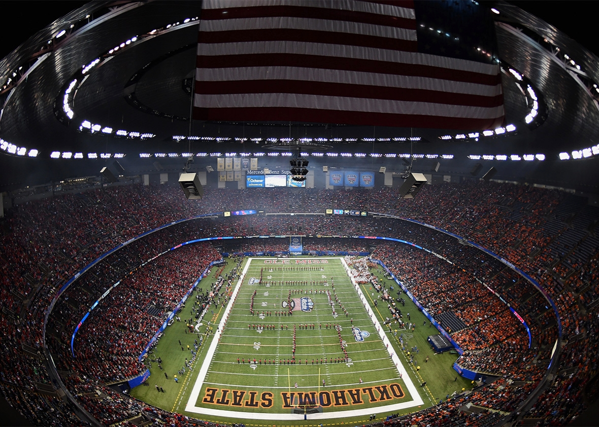 A general view is seen during the first quarter as the Mississippi Rebels take on the Oklahoma State Cowboys during the Allstate Sugar Bowl at Mercedes-Benz Superdome on January 1, 2016 in New Orleans, Louisiana.