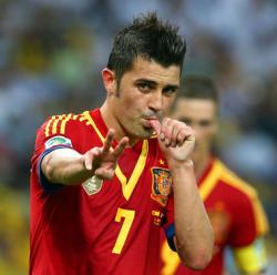 David Villa of Spain celebrates scoring his team's fifth goal during the FIFA Confederations Cup Brazil 2013 Group B match between Spain and Tahiti at the Maracana Stadium on June 20, 2013 in Rio de Janeiro, Brazil.