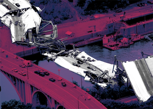 An aerial view shows the collapsed I-35W bridge 04 August 2007 in Minneapolis, Minnesota.