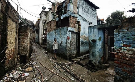 An Indian slum.