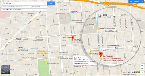 The new Google Maps personalized interface.