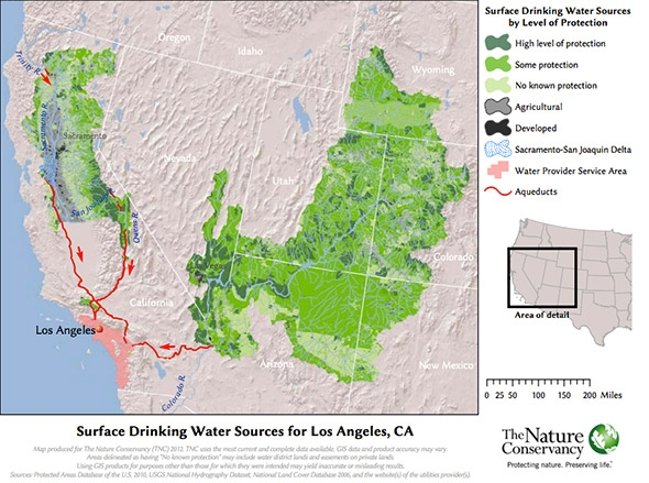 surface drinking water sources for los angeles california.
