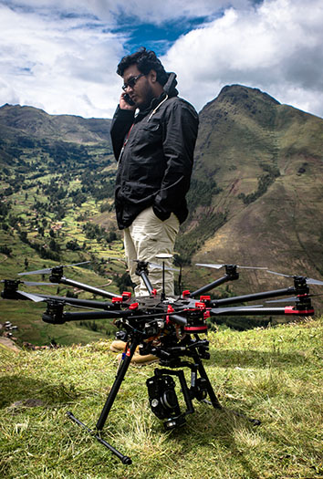 Aldo and drone in Machu Picchu, Peru, April 8, 2015.