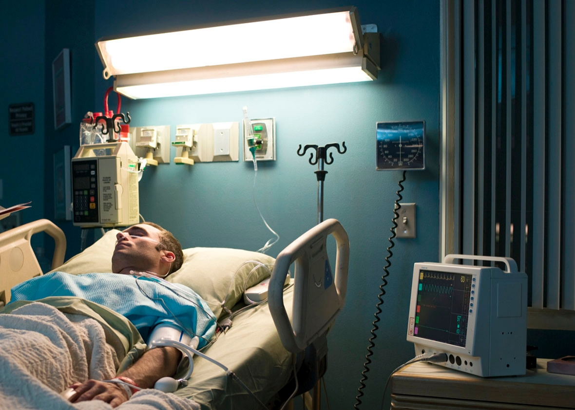 patient in hospital room.
