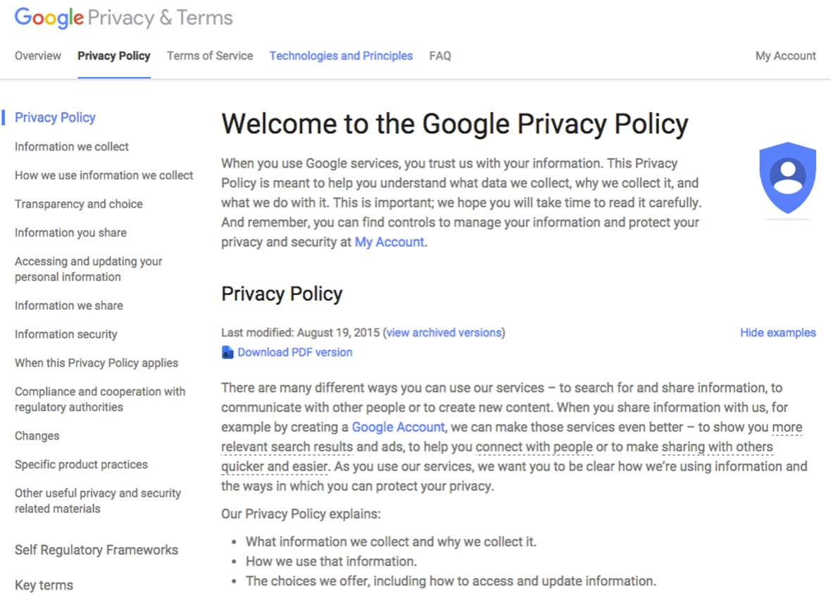 Company policies examples images for Corporate privacy policy template