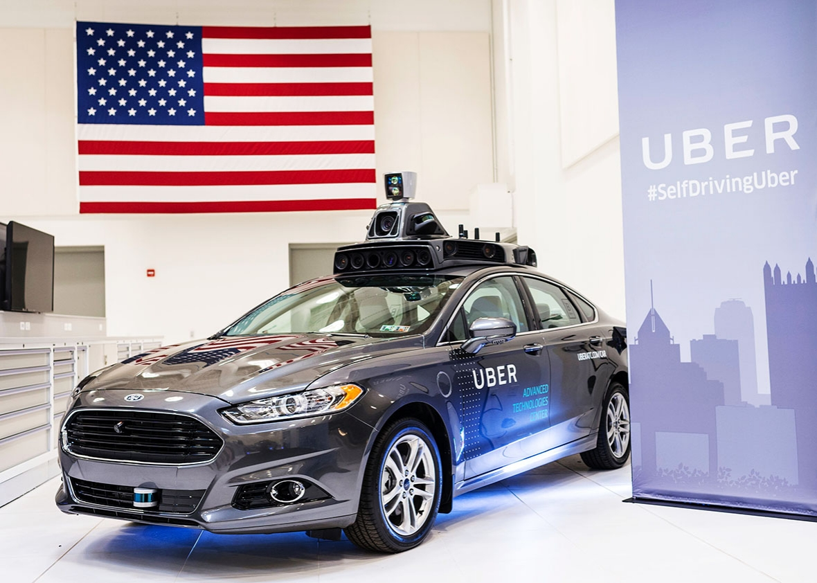 A pilot model Uber self-driving car is displayed at the Uber Advanced Technologies Center on September 13, 2016 in Pittsburgh, Pennsylvania.