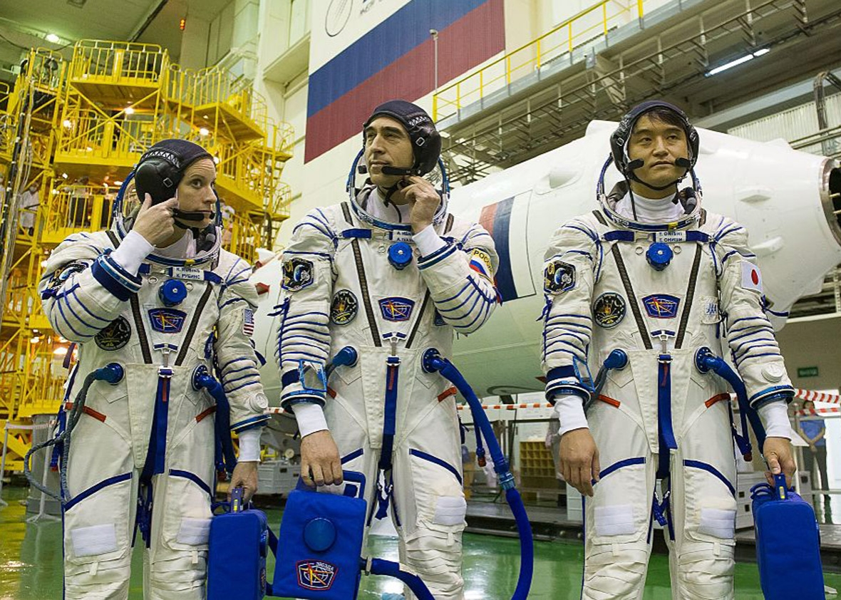 Members of the main crew of the 48/49 expedition to the International Space Station