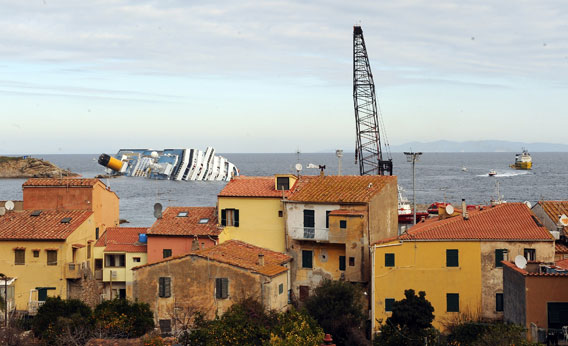 Cruise ship Costa Concordia lies stricken off the shore of the island of Giglio