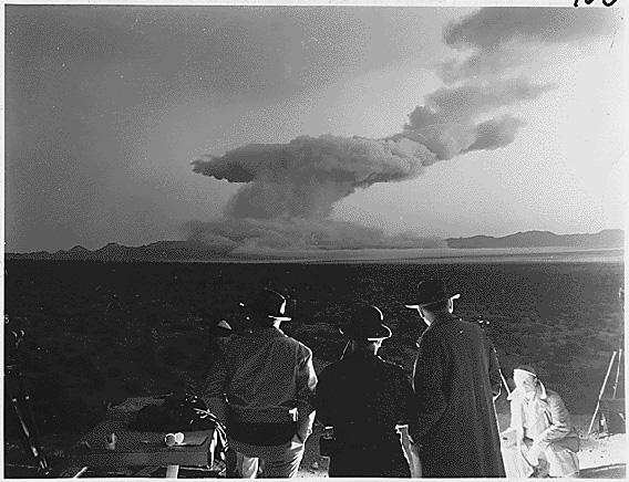 A few minutes after detonation of the atomic blast in Operation Cue, May 5, 1955.