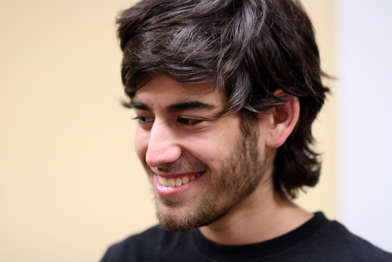 Aaron Swartz at a Boston Wikipedia Meetup in August 19, 2009.