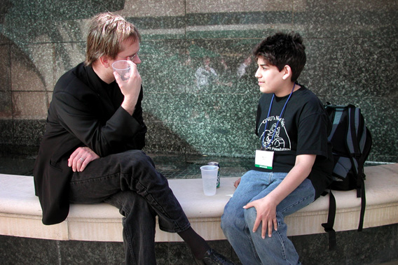 Lawrence Lessig and Aaron Swartz at the launch party for Creative Commons at O'Reilly's Emerging Technology Conference, 2001