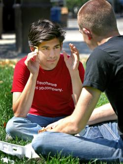 Aaron Swartz, left, and Simon Carstensen.