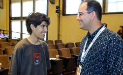 Aaron Swartz with Interim Executive Director Brad Patrick at Wikimania, 2006.