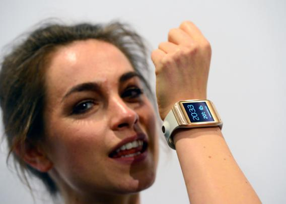 The functions of Samsung's Galaxy Gear smartwatch is displayed at the IFA (Internationale Funkausstellung) electronics trade fair in Berlin on September 4, 2013.