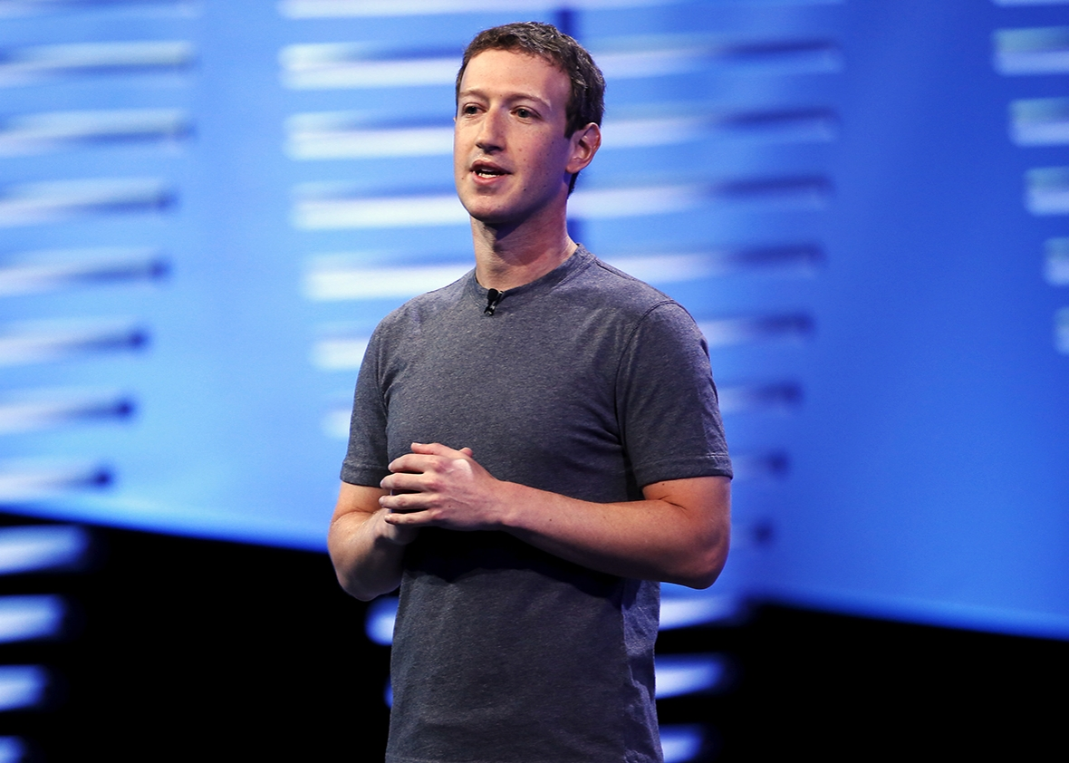 Mark Zuckerberg speaks on stage during the Facebook F8.