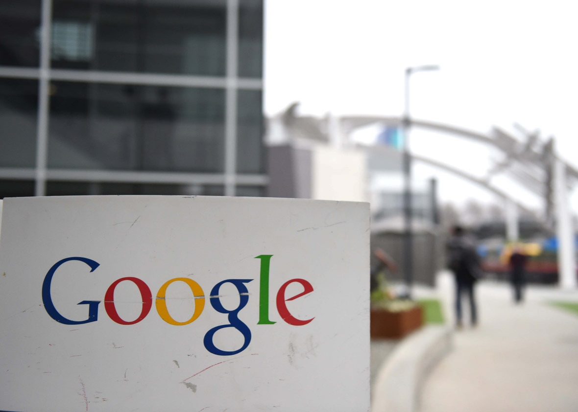 The Google logo is seen on the Google campus in Mountain View, California, on February 20, 2015.