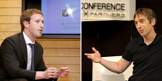 Facebook CEO Mark Zuckerberg, left, and Founder, CEO, & Chief Product Officer at Zynga Mark Pincus, right.
