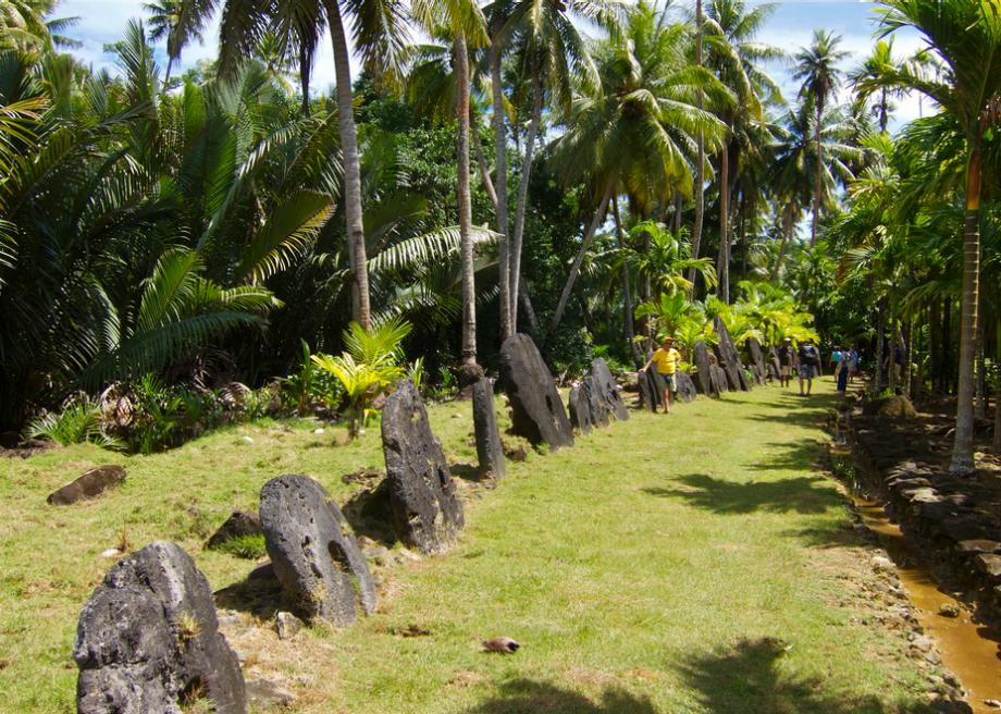 Row of stone money in Yap - Courtesy of www.slate.com