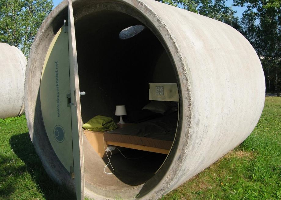 Concrete Drain Pipe : Sleep in a concrete sewer pipe at this austrian hotel