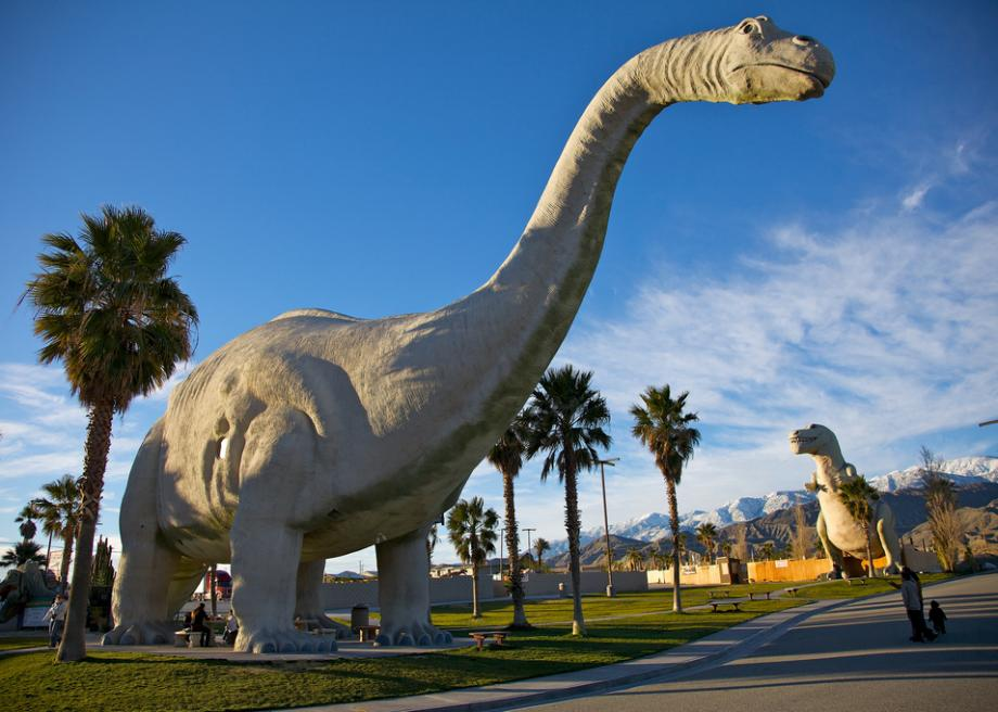 Cabazon Dinosaurs Sign At The Entrance This Cur Owner Is A Firm Believer In