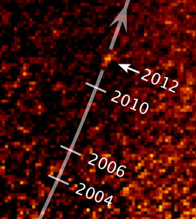 Hubble image showing the motion of Fomalhaut b over 8 years